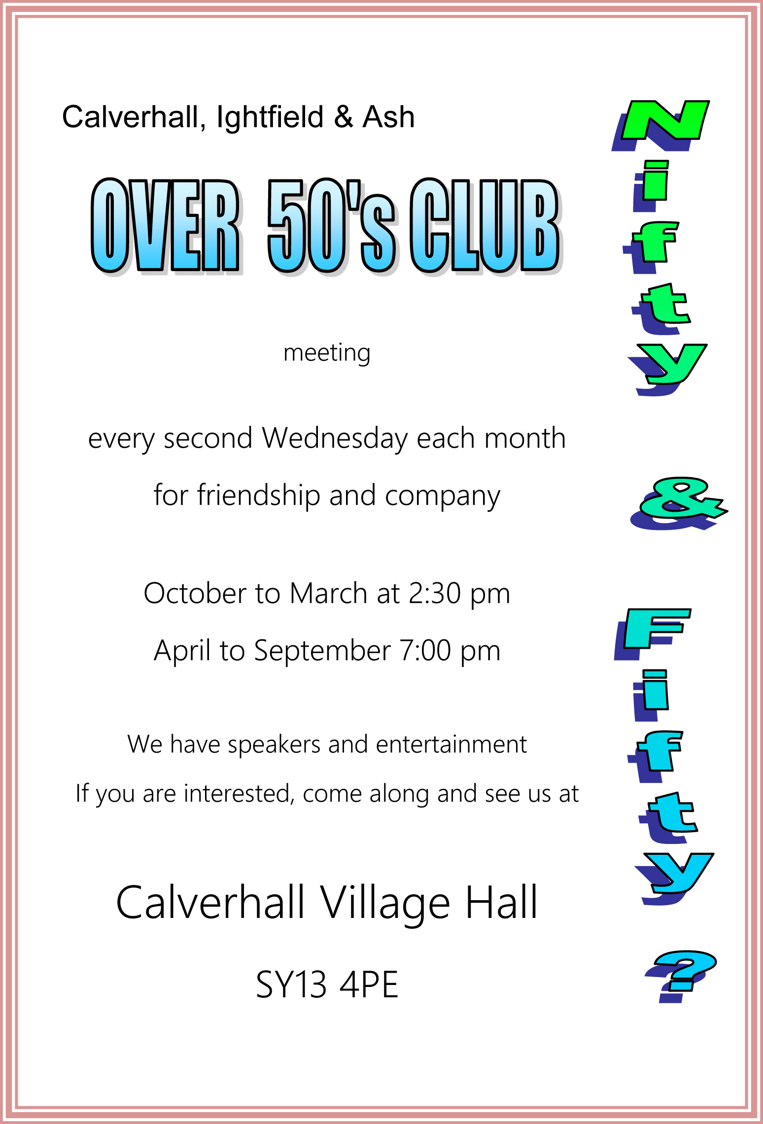 Over fifty club